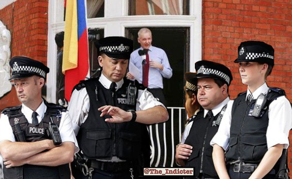Julian Assange at Ecuador's Embassy (Photo Collage by The Indicter Magazine)