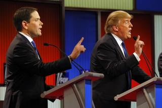 Marco Rubio and Donald Trump at GOP Fox News Debate on March 3, 2016